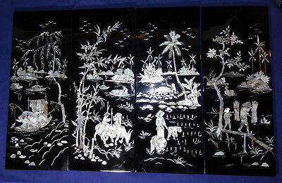 4 Panels Chinese Mother of Pearl Black Lacquer Wall Hanging Rice Fields Picture