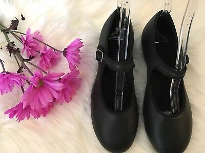 Capezio Black Leather Tele Tone Tap Mary Jane Style Dance  Shoes Womens Size 8M