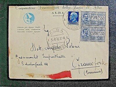 Italy 1932 2 x1.25L Express post to Germany , reverse pmks