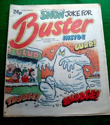 Buster Comic  Snow Joke For Buster   Stunning Cover   10/1/1987