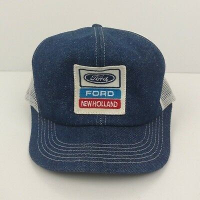 1980s FORD NEW HOLLAND TRACTORS DENIM MESH PATCH MEN'S TRUCKER SNAPBACK HAT!