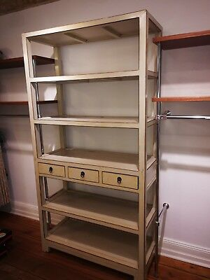 Regal chinesische Kommode Schrank Massivholz China cremeweiss, chabby-chic