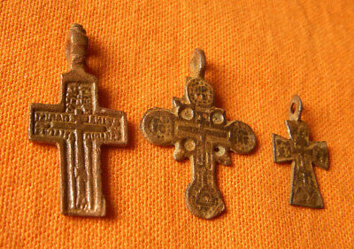 A230,Late Medieval authentic copper crosses.Lot of 3