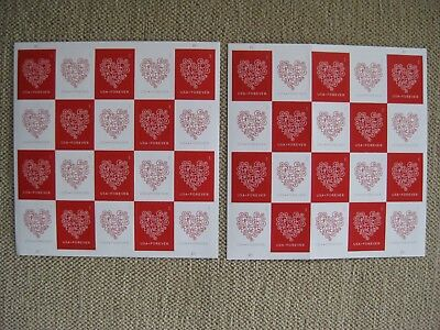 40 New USPS Forever Stamps - Love Heart Wedding - Free Shipping - 2 sheets of 20