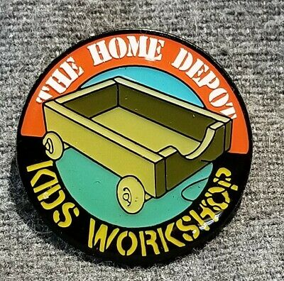 LMH PINBACK Pin HOME DEPOT Kids Workshop WAGON CART Toy Pull Tote Carrier 1""