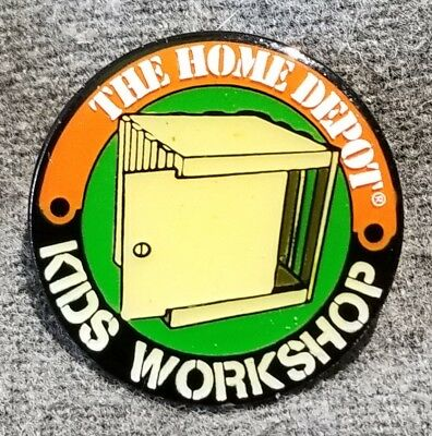 LMH PINBACK Pin HOME DEPOT Kids Workshop CD CRATE Storage Bin Music Holder 1""