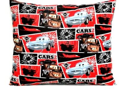 Pixar Cars Toddler Pillow on Red & Black Cotton PC15-4 New Handmade