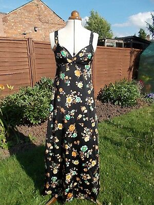 "Fab 70's Floral Maxi Dress With Built-in Bra by St Michael, Festival, 36"" Bust"