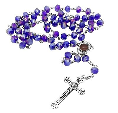 Blue Purple Beads Catholic Rosary Necklace Virgin Mary Holy Soil Medal & Cross