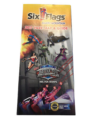 Six Flags Magic Mountain Park Map & Guide 2017