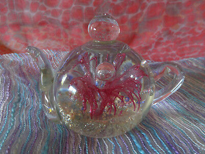 Glass Teapot Paperweight With Pink Fusion & Space Bubbles