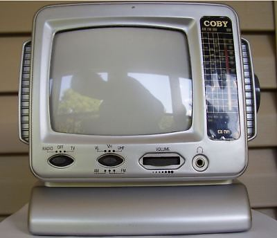 "Vintage CX-TV1  5"" Coby Portable Black & White CRT Television TV w/ AM/FM Radio"