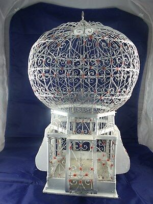 "22"" French Tunisian Style Wire-Work Birdcage RED & WHITE - SHABBY CHIC"