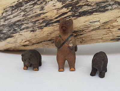 Rare 3 Antique Wooden Black Forest Bears Miniature