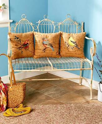 Bird-Themed Pillows Accent Home Decor Red Tanager Blue Robin Yellow Finch Bench