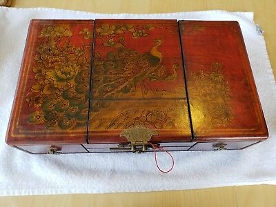 Antique Red Wood Chinese Jewelry Box
