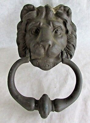 Vintage Brass Lion Head Door Knocker - Peerage - Made in England