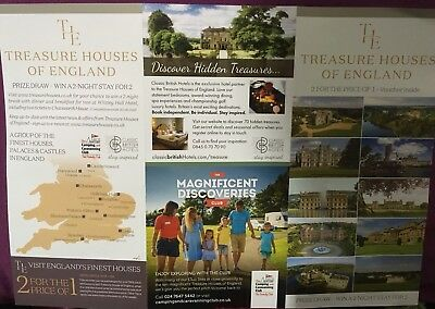 2 FOR 1 TREASURE HOUSES OF ENGLAND VOUCHER (Castle Palace Hall Abbey, Days Out)