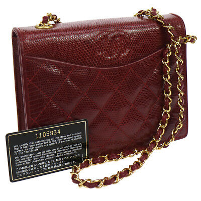 a155a9dc6586 Authentic CHANEL Quilted Chain Shoulder Bag Burgundy Lizard Skin Vintage  N20277