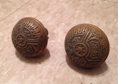 Matching Pair Antique Victorian Brass Doorknobs Eastlake Ornate Door