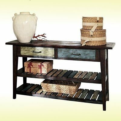 Rustic Style Sofa Console Table Side Storage Brown Wooden