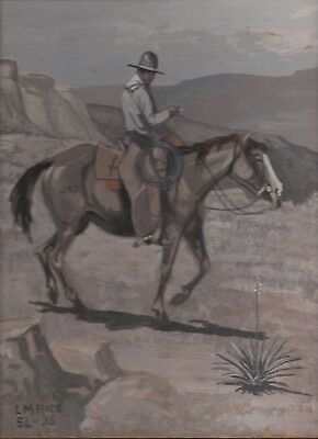 1926 Oil on Board Painting of Cowboy on Horse Listed CA Artist Lee Marvin Rice
