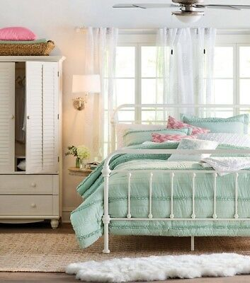 King Size Metal Bed White Antique Style Frame Headboard Footboard Iron Victorian