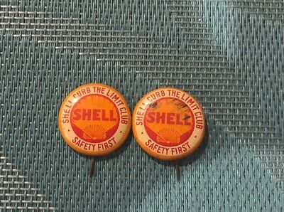 Lot of 2 Shell Curb the Limit Club Vintage Pinback Buttons