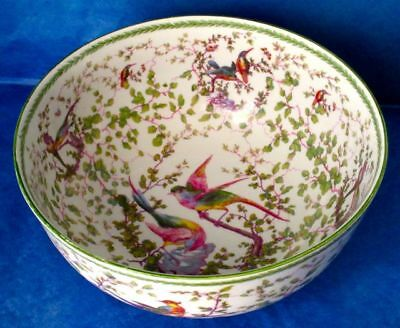 """Antique Gorgeous Punch Bowl, Hand Painted with Chelsea Birds, Large 10"""", England"""