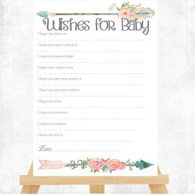 Baby Shower Game WISHES FOR BABY BOHO 14x10cm BABY UNISEX KEEPSAKE PARTY arrow