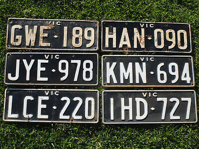 Victoria Set of White On Black Prefixes G to L..Six Plates In Great Condition.