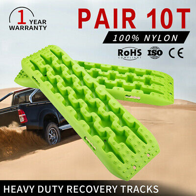 4x4 Recovery Tracks 10T Off Road 4WD Sand Track Snow Mud Tyre Ladder Pair Green