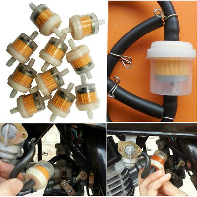 """10x 1/4"""" 6-7mm Motorcycle Hose Inline Fuel Gas Filter For Harley Honda Yamaha"""