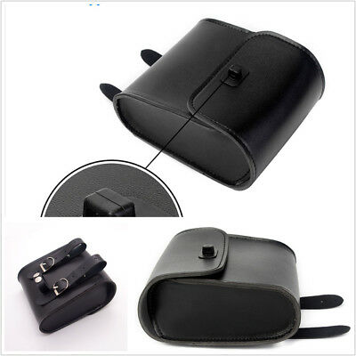 Black Motorcycle PU Leather Front Handlebar Tool Bag Luggage Saddle Bags