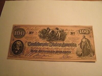 $100 Dollar Confederate States Of America Civil War Note ?