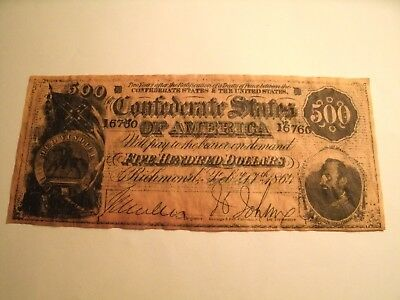 $500 Dollar Confederate States Of America - Paramount Realty & Sales, Inc.