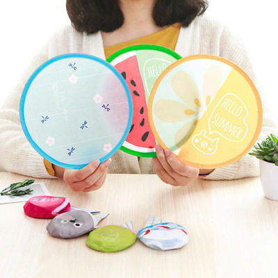 Lovely Cartoon Portable Fans Foldable Mini Round Hand Fan Cooling Pocket Gift