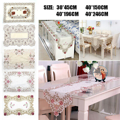 1xRunner New Table Embroidered Floral Soft Gauze Cutwork Lace Party Piece Cloth^
