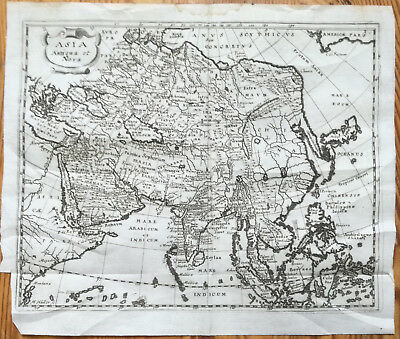 Cluver Original Engraved Map Continent Asia - 1678