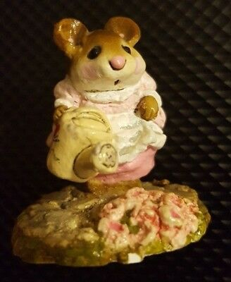 "1984 Annette Petersen Little Mouse watering flowers 2"" ADORABLE"