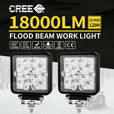 2x Square CREE LED Work Light Flood Lamp 4WD Offroad Tractor Truck SUV 12V 24V