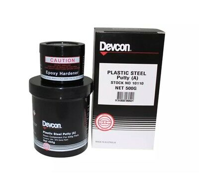 Devcon PLASTIC STEEL PUTTY A 500g Repair Epoxy, Hardens In Four Hours *Aust Made