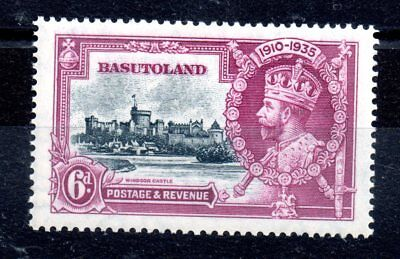 Basutoland 1935 6d Jubilee spectacular flaw variety on flag pole unused WS9159