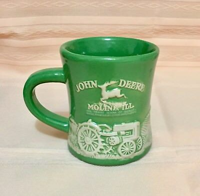 John Deere Coffee Mug Raised Relief Model D Tractor Cup Moline Illinois Green
