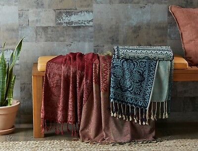 BNWT Morgan & and Finch Maple Burgundy Throw Decorative French Blanket RRP$49.95