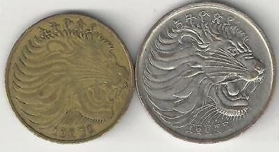 2 DIFFERENT COINS from ETHIOPIA - 10 & 50 CENTS (CLEAR, BUT UNKNOWN DATES) Lot 2