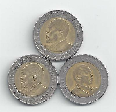 3 DIFFERENT BI-METAL 5 SHILLING COINS from KENYA (1997, 2005 & 2009)