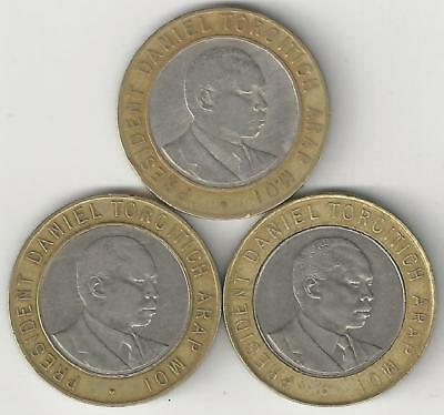 3 DIFFERENT BI-METAL 10 SHILLING COINS from KENYA (1994, 1995 & 1997)