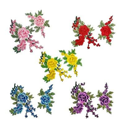 2Pcs/Set Rose Flower Embroidery Sew Iron On Patch Badge Clothes Fabric Appliques