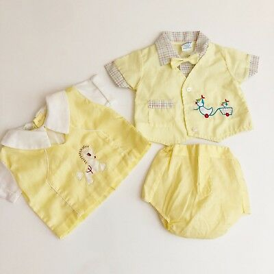 Vintage Duck Boy Infant Children Set 0/3 0-3 Newborn Spring Summer Outfit Bowtie